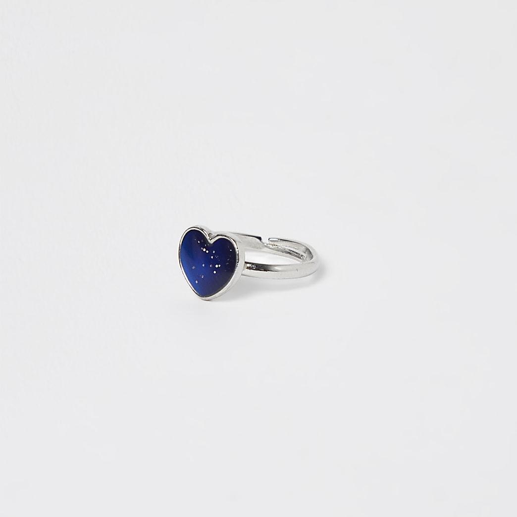 Girls silver heart mood ring