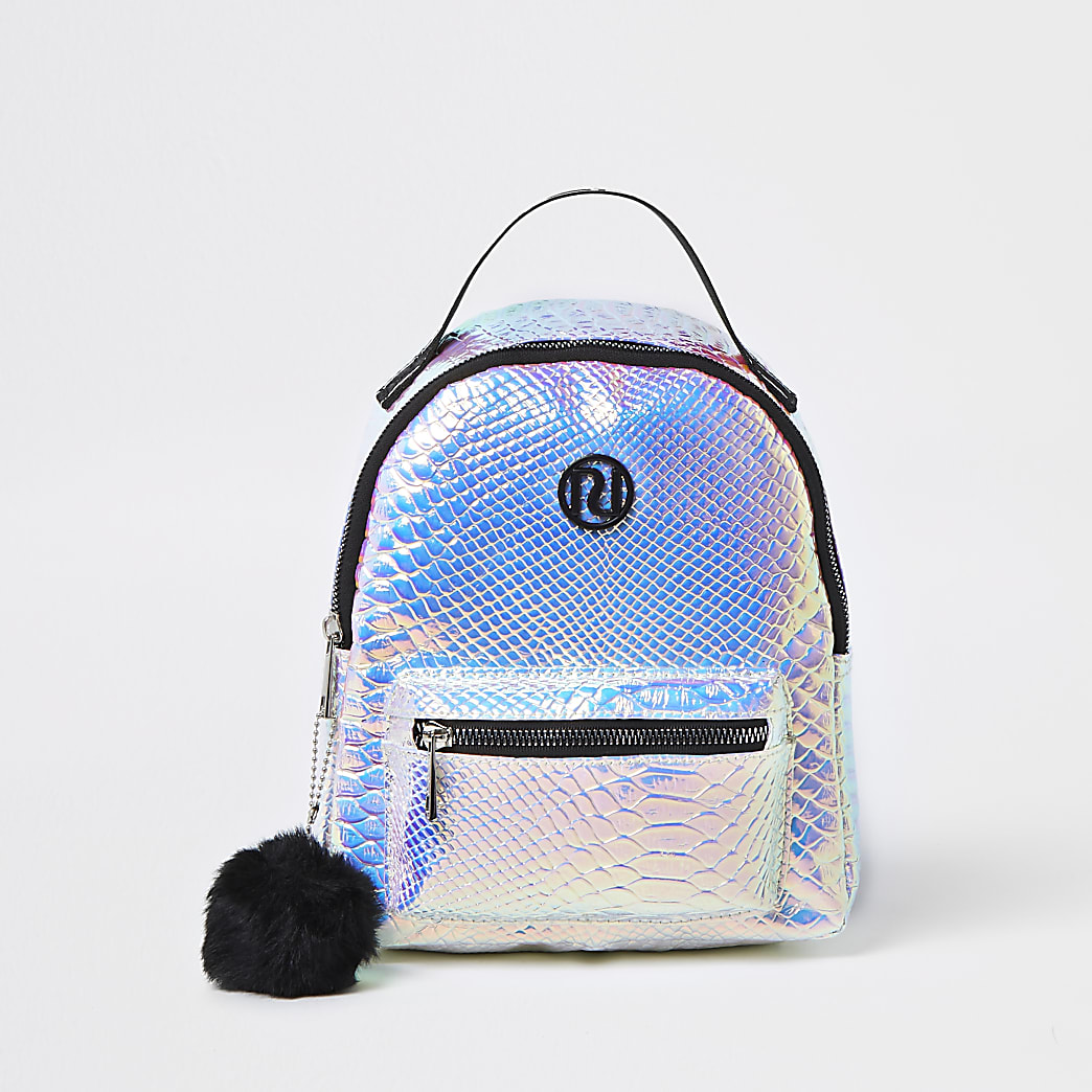 Girls silver holographic backpack