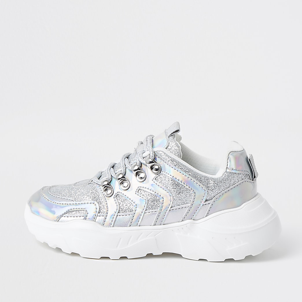 Girls silver holographic glitter trainers