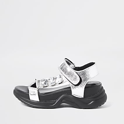 Girls silver jewel detail sandal