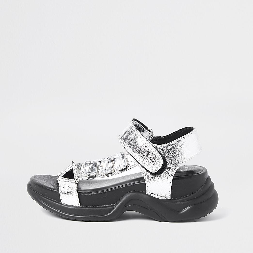 Girls silver jewel detail sandal