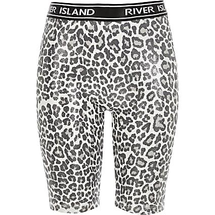 Girls silver leopard print RI cycling shorts