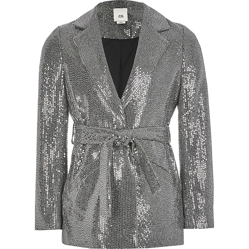 Girls silver metallic tie waisted blazer