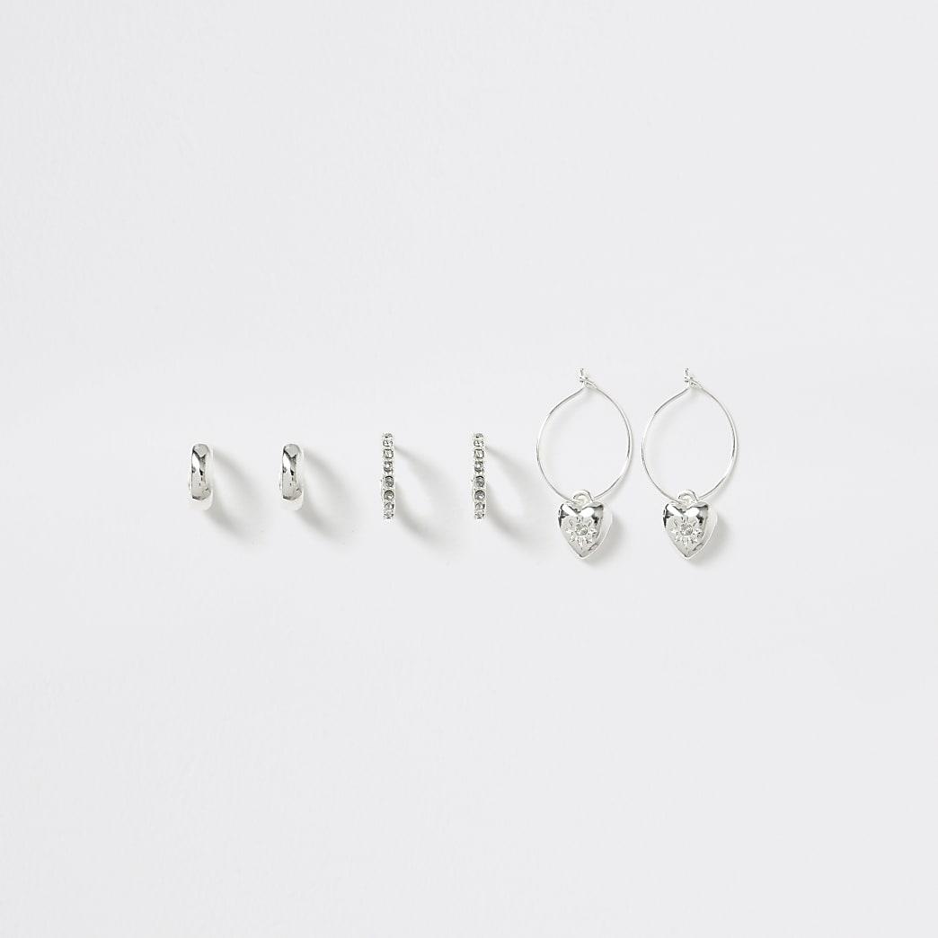 Girls silver mini hoop earring multipack