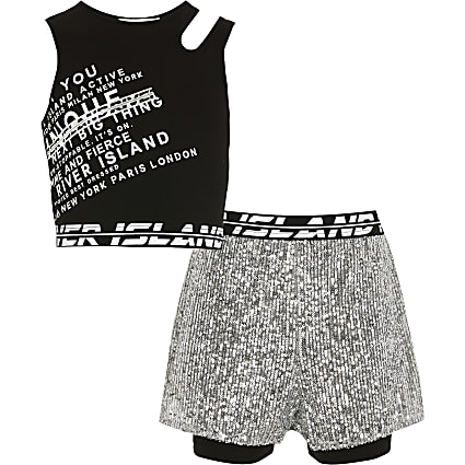 Girls silver RI Active short outfit