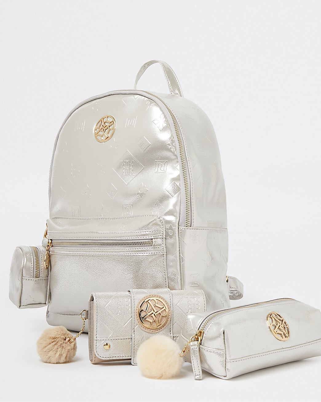 Girls silver RI embossed backpack