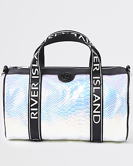 Girls silver RI holographic croc holdall