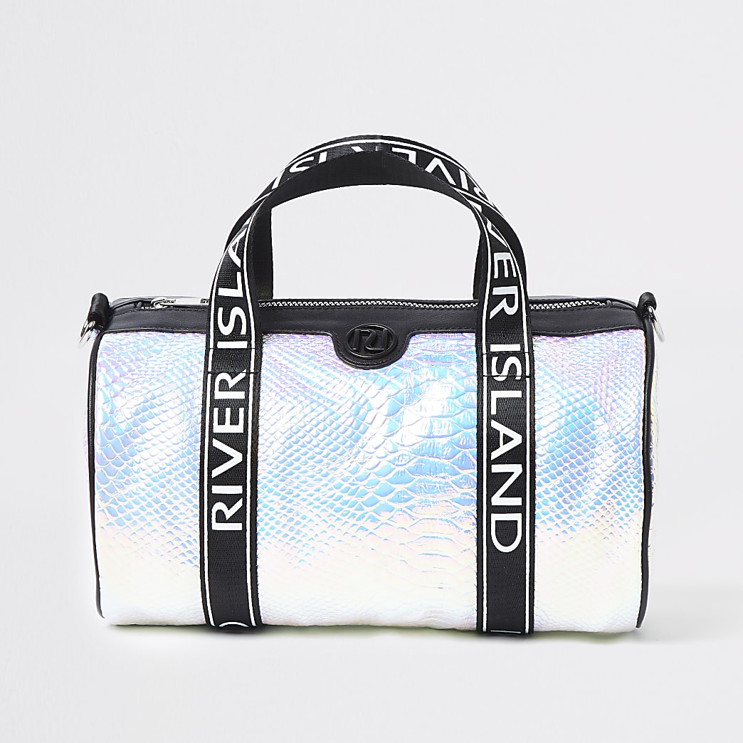 Girls silver RI holographic croc holdall
