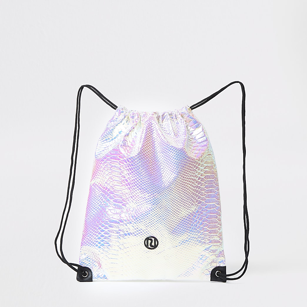 Girls silver RI holographic drawstring bag