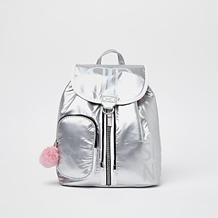 Girls silver RIR pom pom backpack