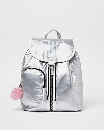 Girls silver RIR pom pom backpack