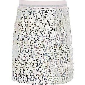 Zilverkleurige A-lijnrokmet pailletten voor meisjes