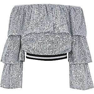 Zilverkleurige bandeau cropped top met lovertjes