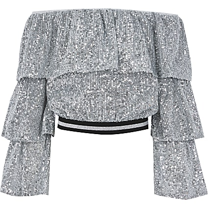 Girls silver sequin bardot cropped top