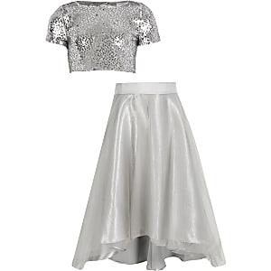 Zilverkleurige organza maxirok outfit met lovertjes voor meisjes
