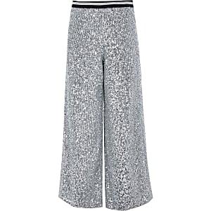 Zilverkleurige broek met  pailletten en wijde pijpen voor meisjes