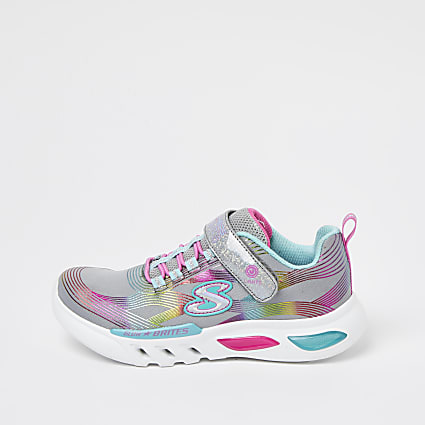 Girls silver Skechers glow up trainers