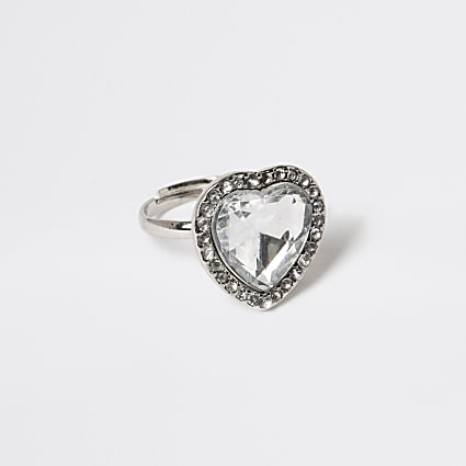Girls silver tone diamante heart ring
