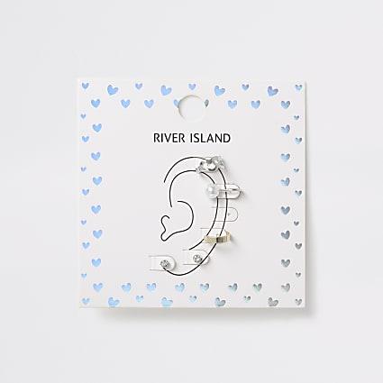 Girls silver tone ear cuff earrings 6 pack