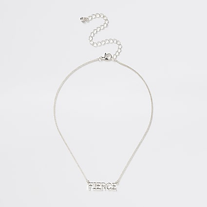Girls silver tone 'Fierce' necklace