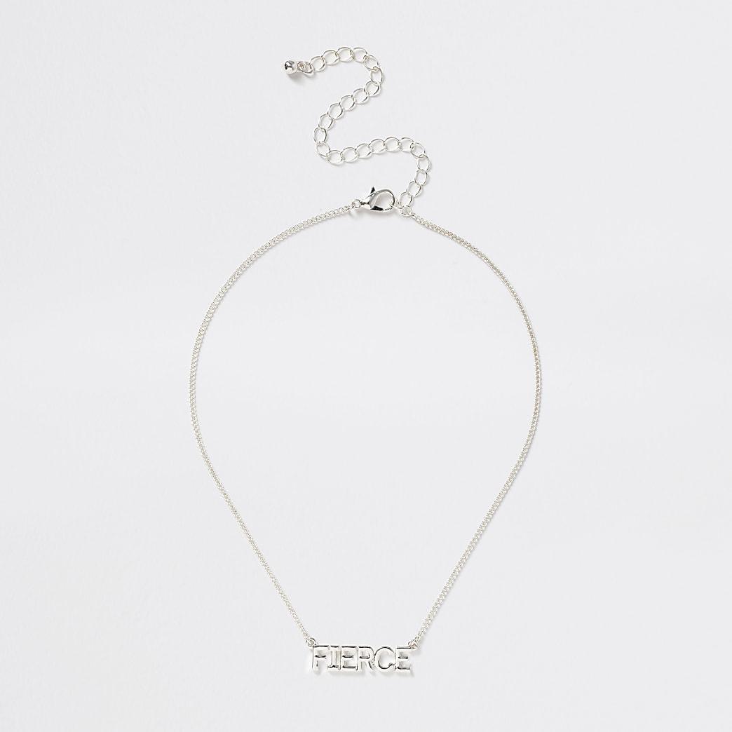 Girls silver tone 'Fierce' necklace