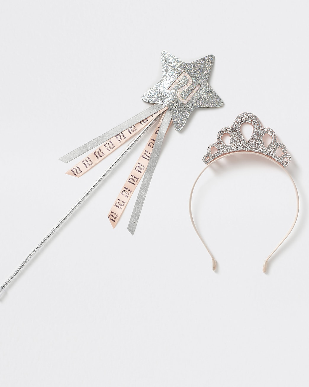 Girls silver tone glitter wand and crown tet