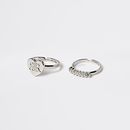 Girls silver tone heart rings 2 pack