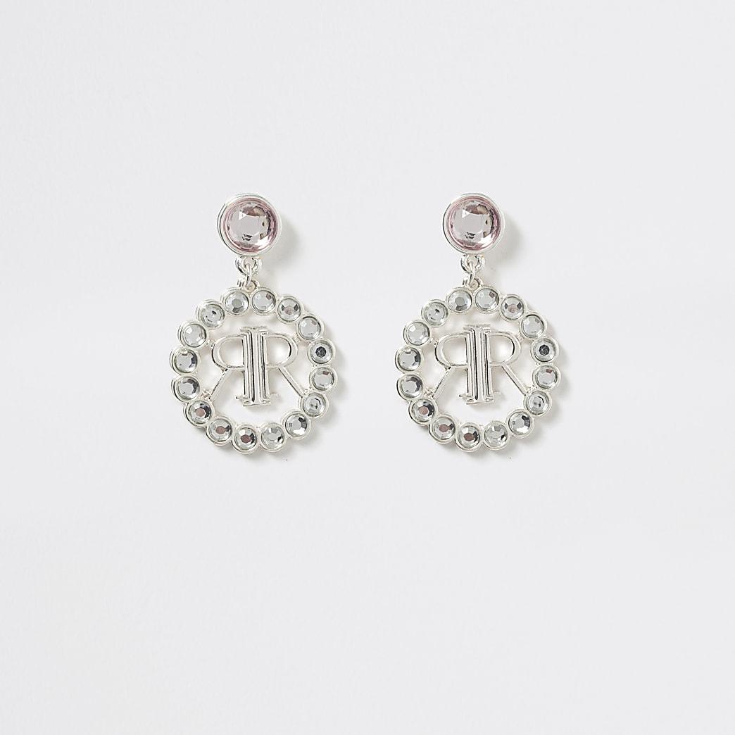 Girls silver tone logo drop stud earrings
