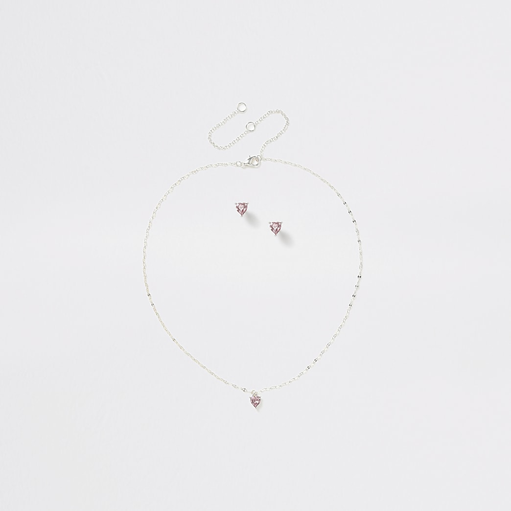 Girls silver tone pink heart stud ditsy set