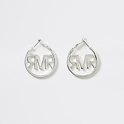 Girls silver tone RI logo hoop earring