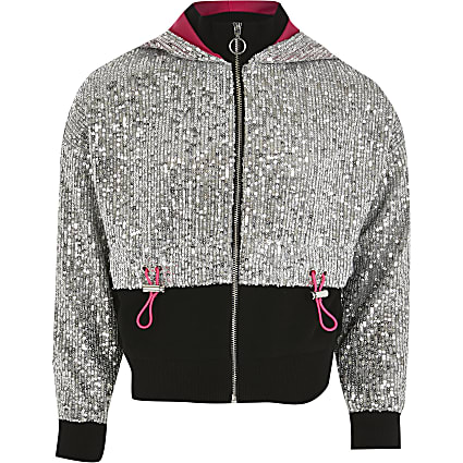Girls silver tone sequin bomber jacket