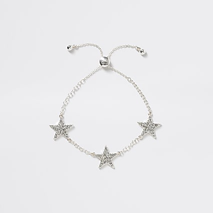 Girls silver tone star bracelet