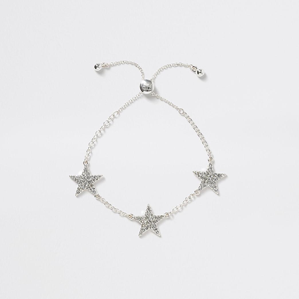 Girls silver tone star bracelet
