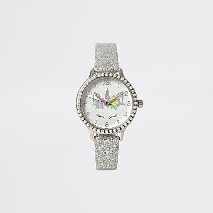 Girls silver tone unicorn watch