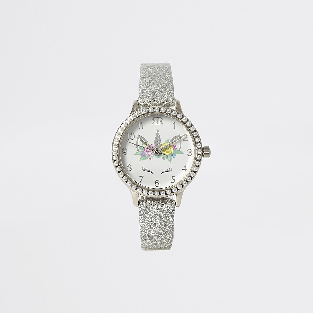 Girls silver tone unicorn watch
