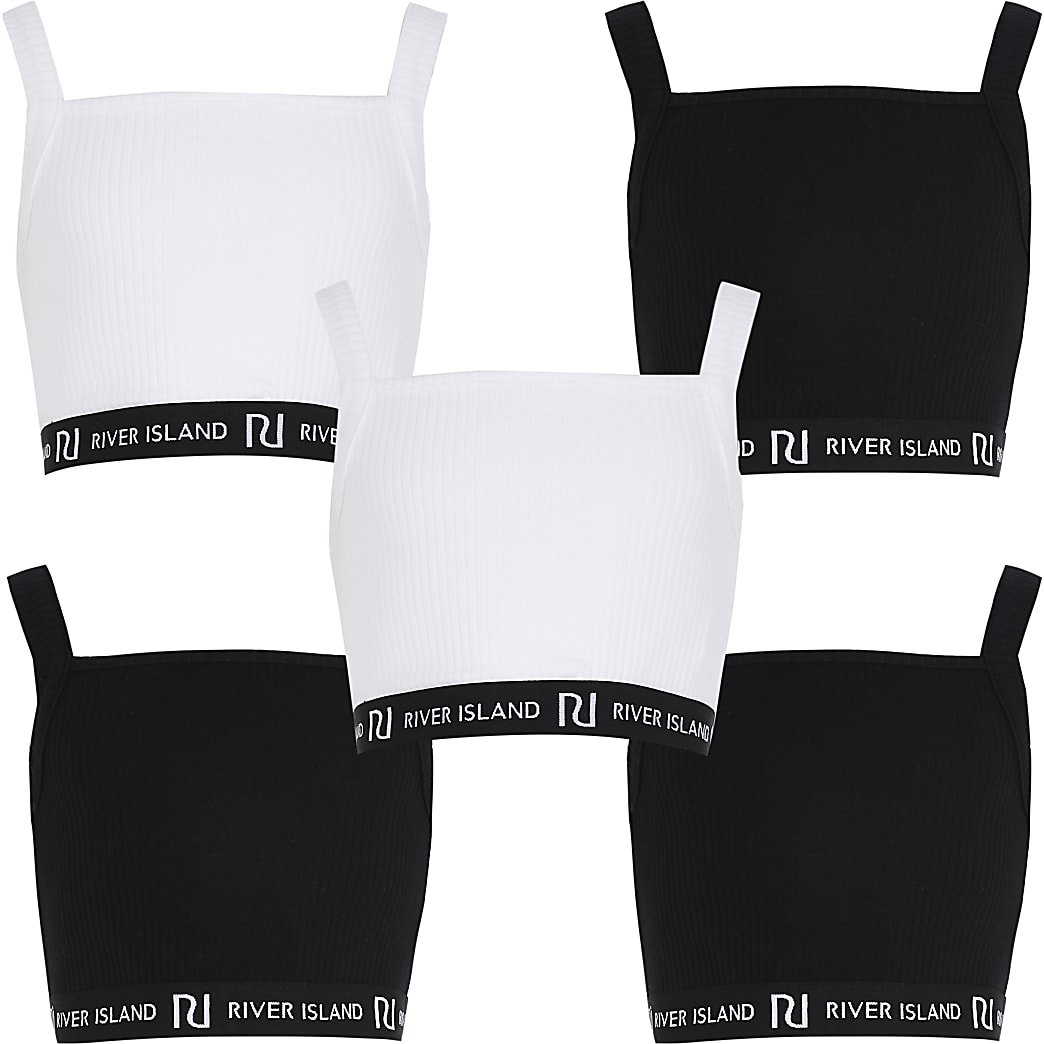 Girls sleeveless 5 pack crop top set