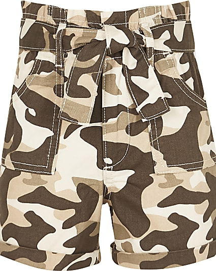 Girls stone camo paper bag shorts