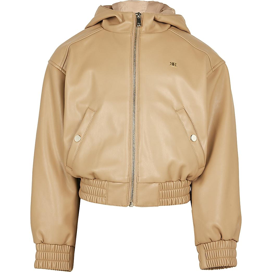Girls stone hooded bomber jacket