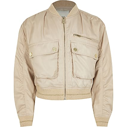 Girls stone pocket front bomber jacket
