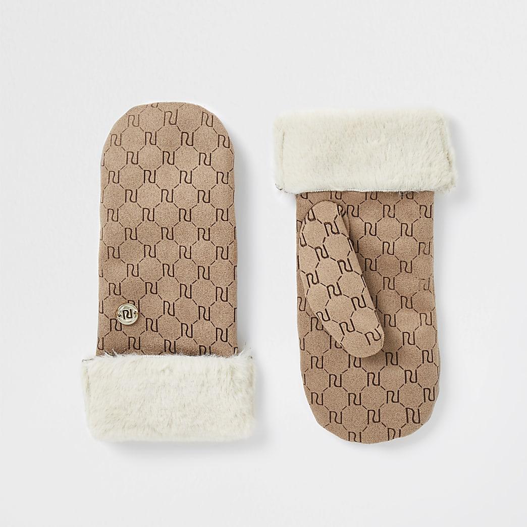 Girls stone suedette embossed mittens