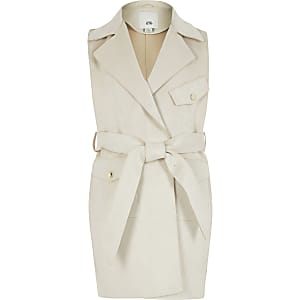 Girls suedette sleeveless belted trench coat