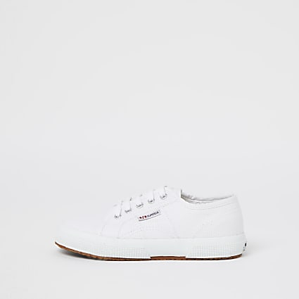 Girls Superga white lace-up trainers