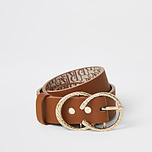 Girls tan double ring belt