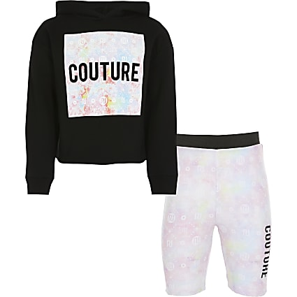 Girls tie dye hoodie and shorts outfit