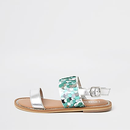 Girls turquoise sequin embellished sandals