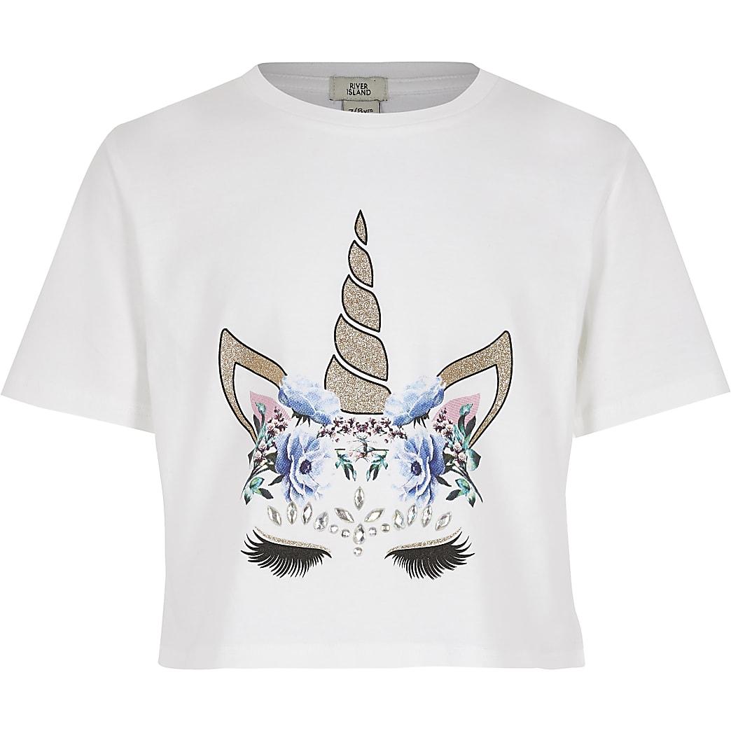 Wit verfraaid T-shirt met eenhoornprint voor meisjes