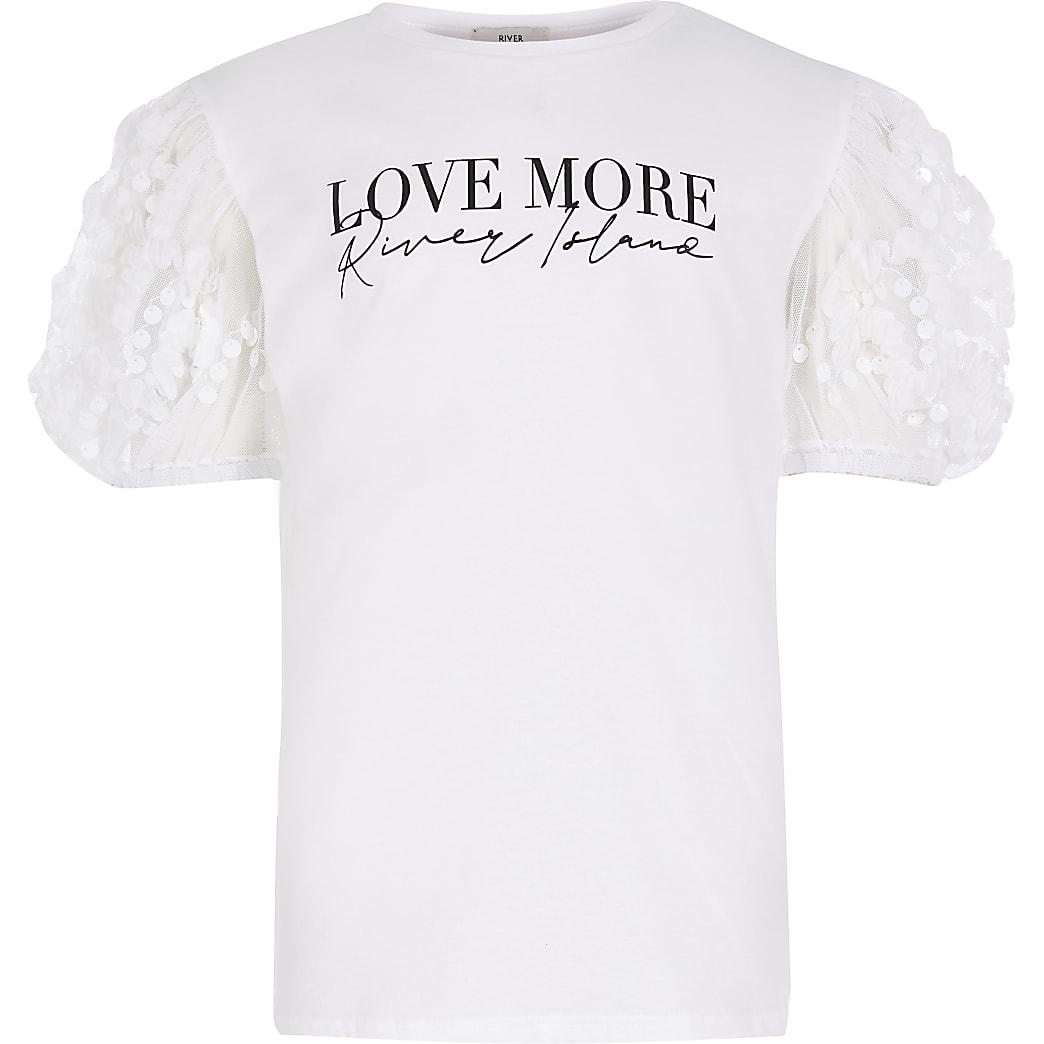 Girls white  'RI' organza sleeve t-shirt