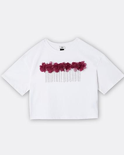 Girls white 3D flower chain trim t-shirt