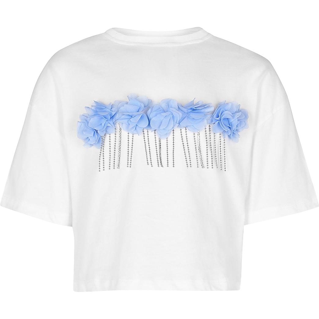Girls white 3D flower stud t-shirt