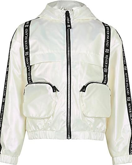 Girls white 3D pocket bomber jacket